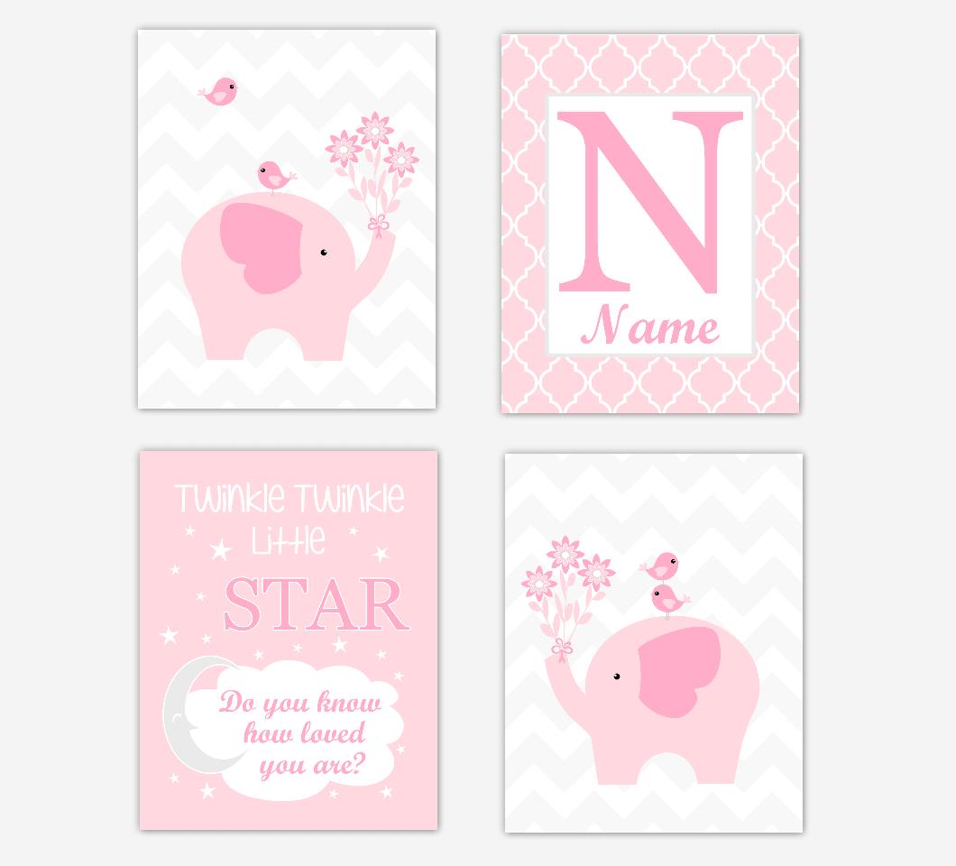 Pink Elephant Baby Girl Nursery Wall Art Prints Safari Personalized Baby Nursery Decor Twinkle Little Star