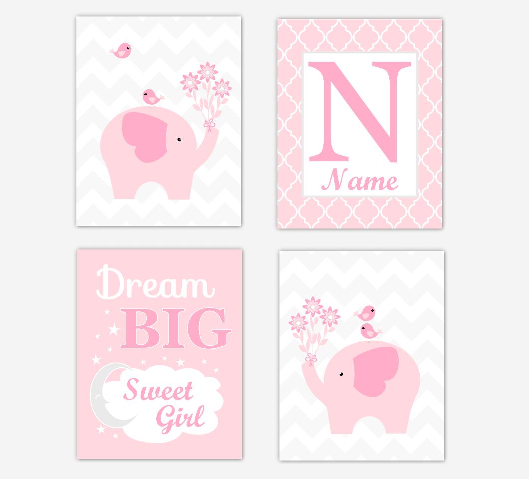 Pink Elephant Baby Girl Nursery Wall Art Prints Safari Personalized Baby Nursery Decor Dream Big Sweet Girl SET OF 4 UNFRAMED PRINTS