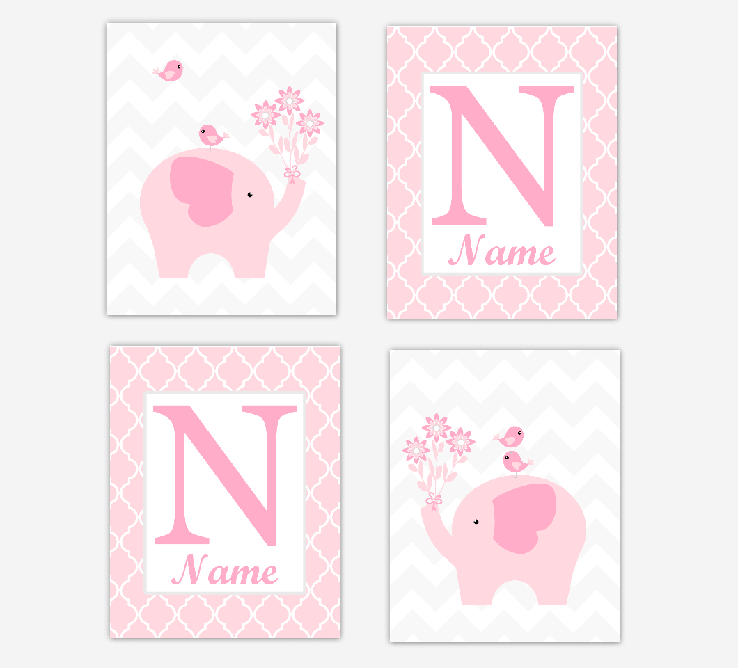 Twins Pink Elephant Baby Girl Nursery Wall Art Prints Safari Personalized Baby Nursery Decor