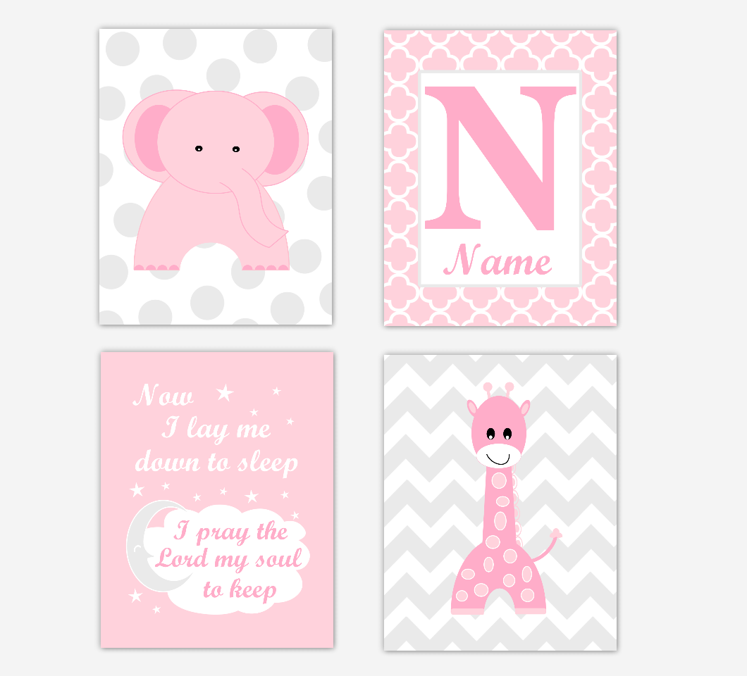 Pink Elephant Giraffe Baby Girl Nursery Wall Art Prints Safari Personalized Baby Nursery Decor Now I Lay Me Down To Sleep