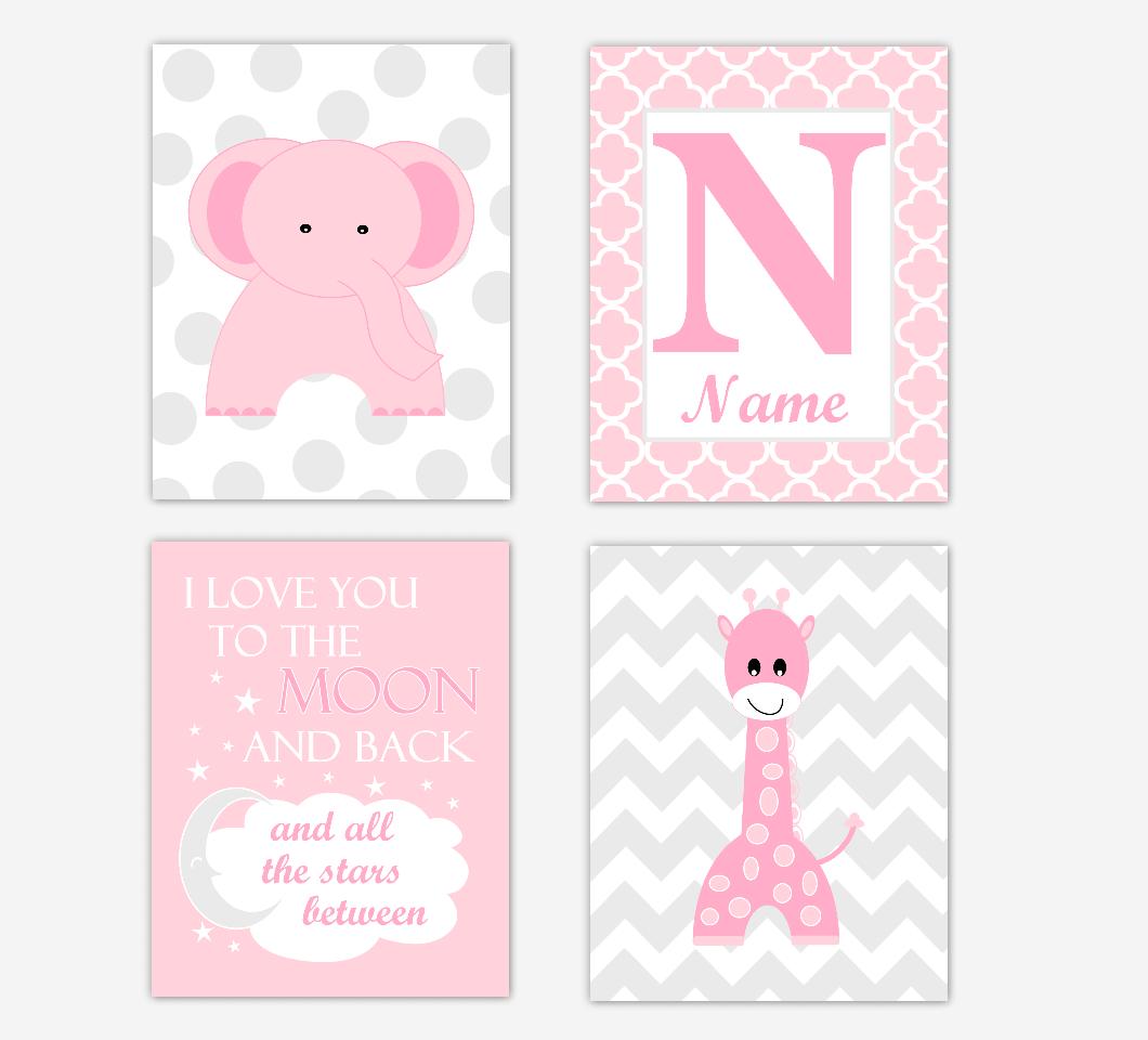 Pink Elephant Giraffe Baby Girl Nursery Wall Art Prints Safari Personalized Baby Nursery Decor I Love You To The Moon and Back