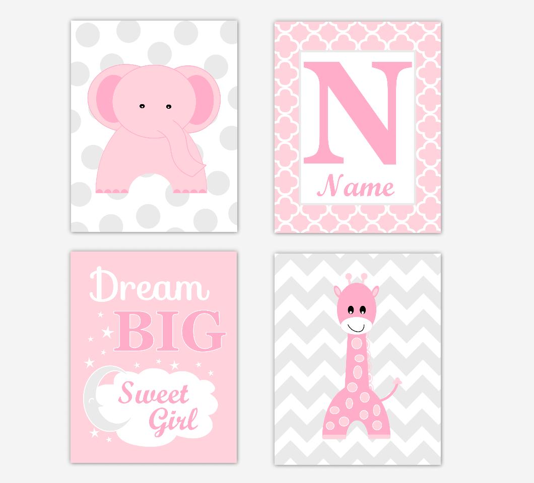 Pink Elephant Giraffe Baby Girl Nursery Wall Art Prints Safari Personalized Baby Nursery Decor Dream Big Sweet Girl