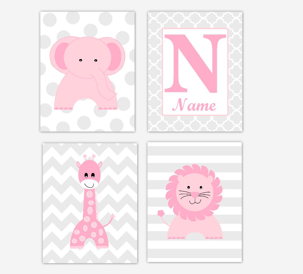 Pink Elephant Giraffe Baby Girl Nursery Wall Art Prints Safari Lion Personalized Baby Nursery Decor