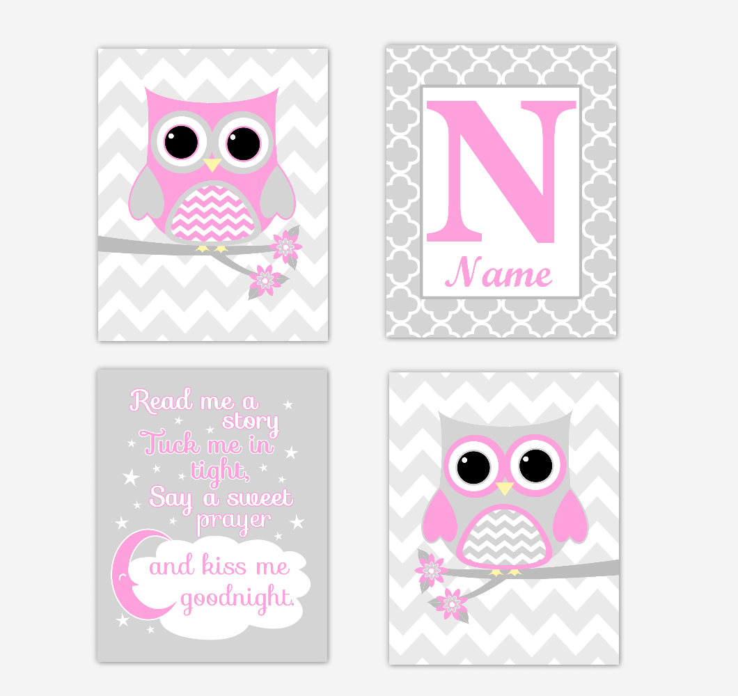 Pink Owls Baby Girl Nursery Wall Art Prints Personalized Baby Nursery Decor Read Me A Story