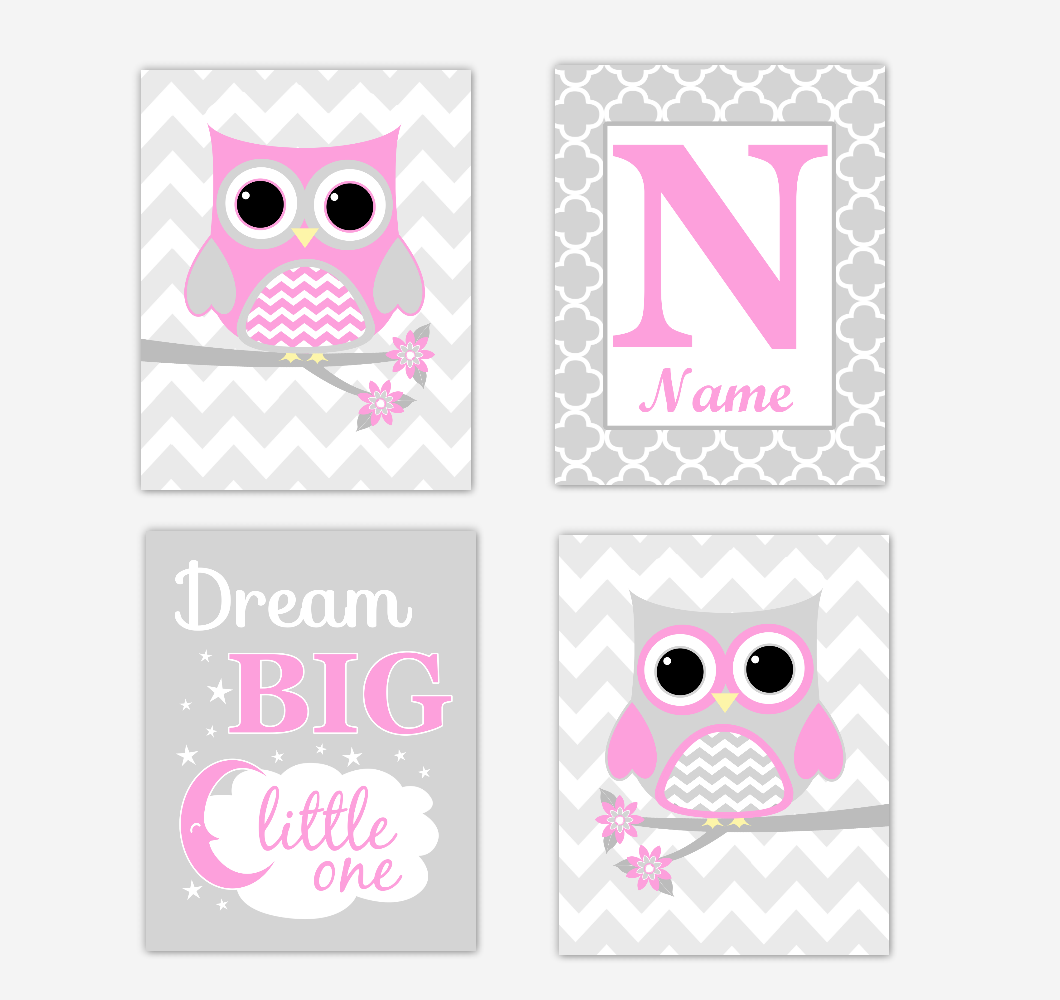 Pink Owls Baby Girl Nursery Wall Art Prints Personalized Baby Nursery Decor Dream Big Little One