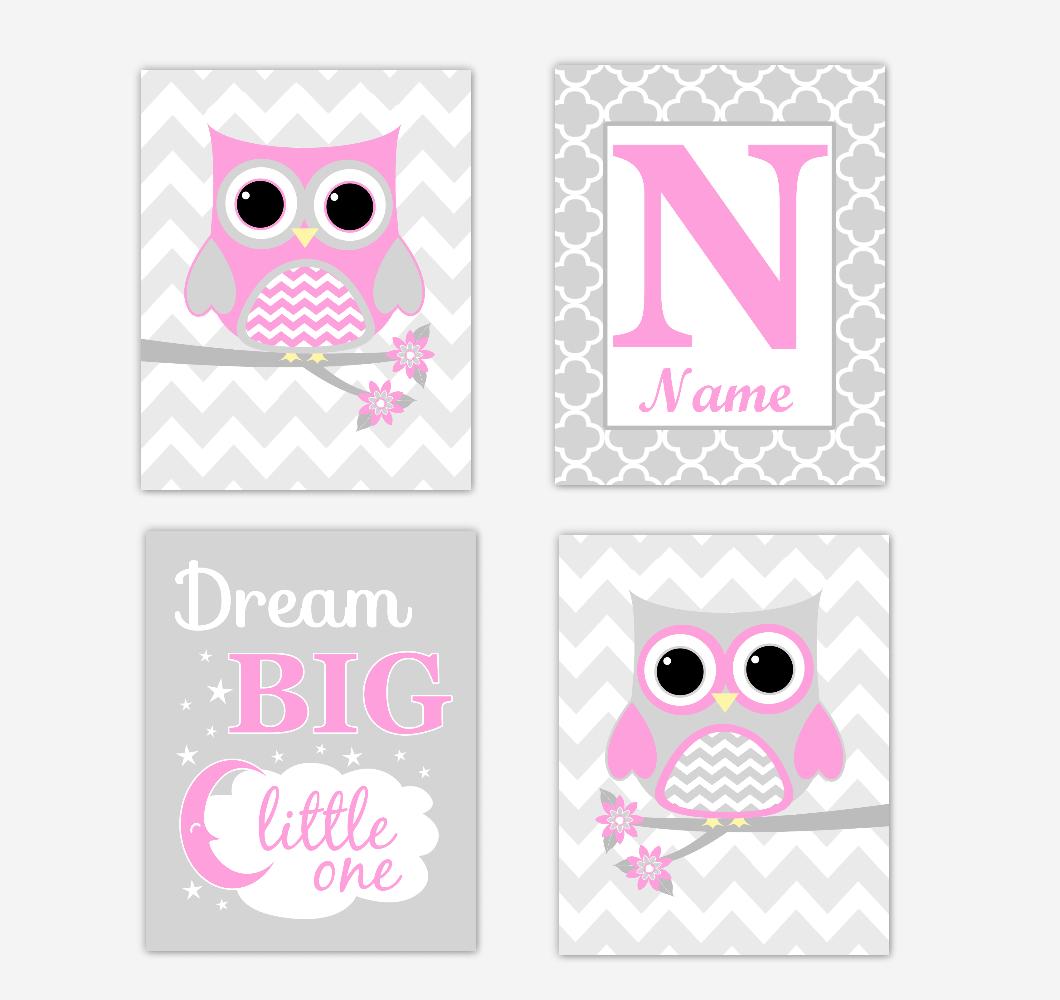 Pink Owls Baby Girl Nursery Wall Art Prints Personalized Baby Nursery Decor Dream Big Little One