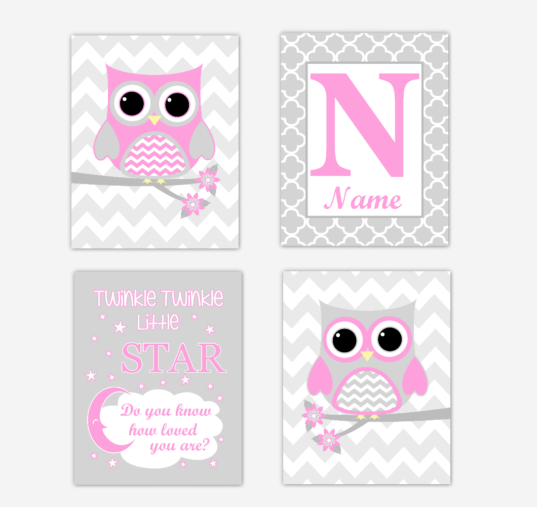 Pink Owls Baby Girl Nursery Wall Art Prints Personalized Baby Nursery Decor Twinkle Little Star