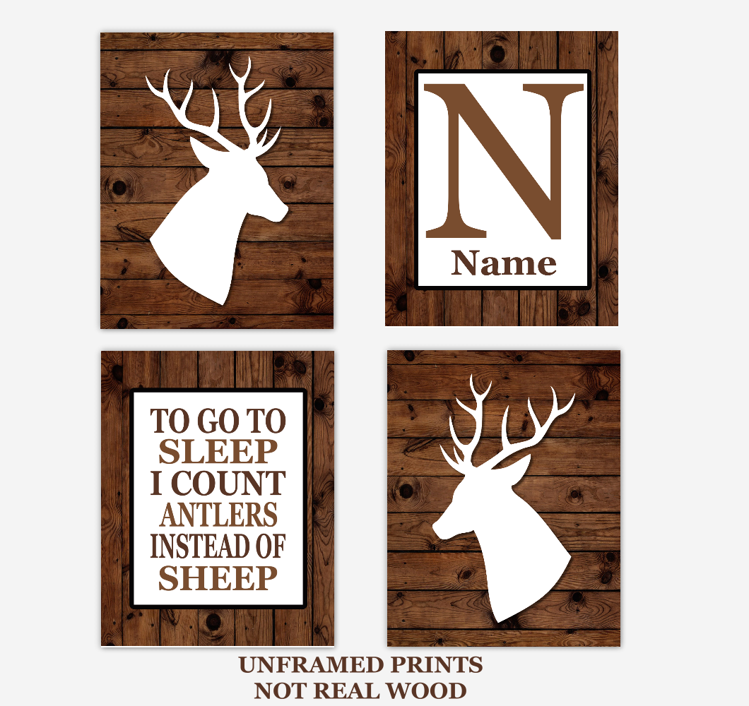 Deer Baby Boy Nursery Wall Art Rustic Brown White Personalized Baby Nursery Decor To Go To Sleep Quote