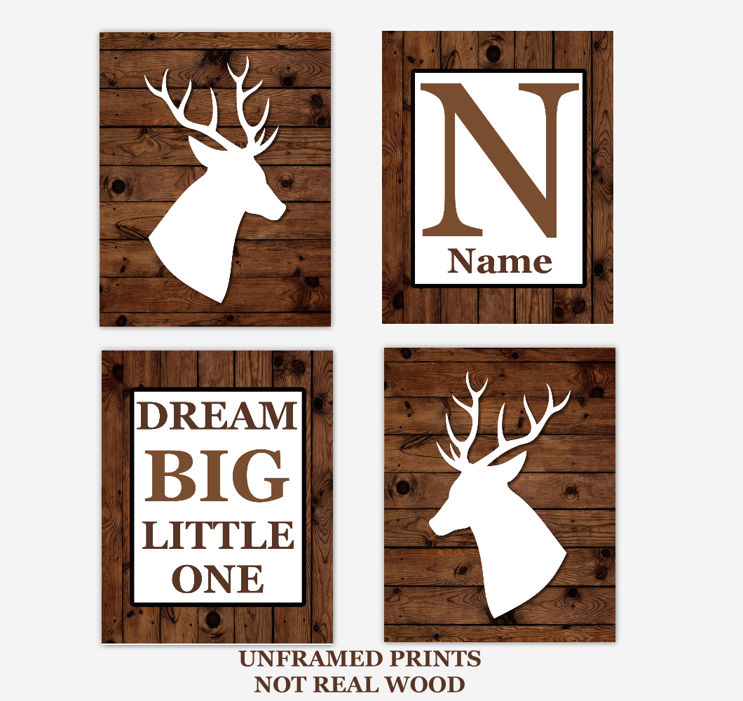 Deer Baby Boy Nursery Wall Art Rustic Brown White Personalized Baby Nursery Decor Dream Big Little One