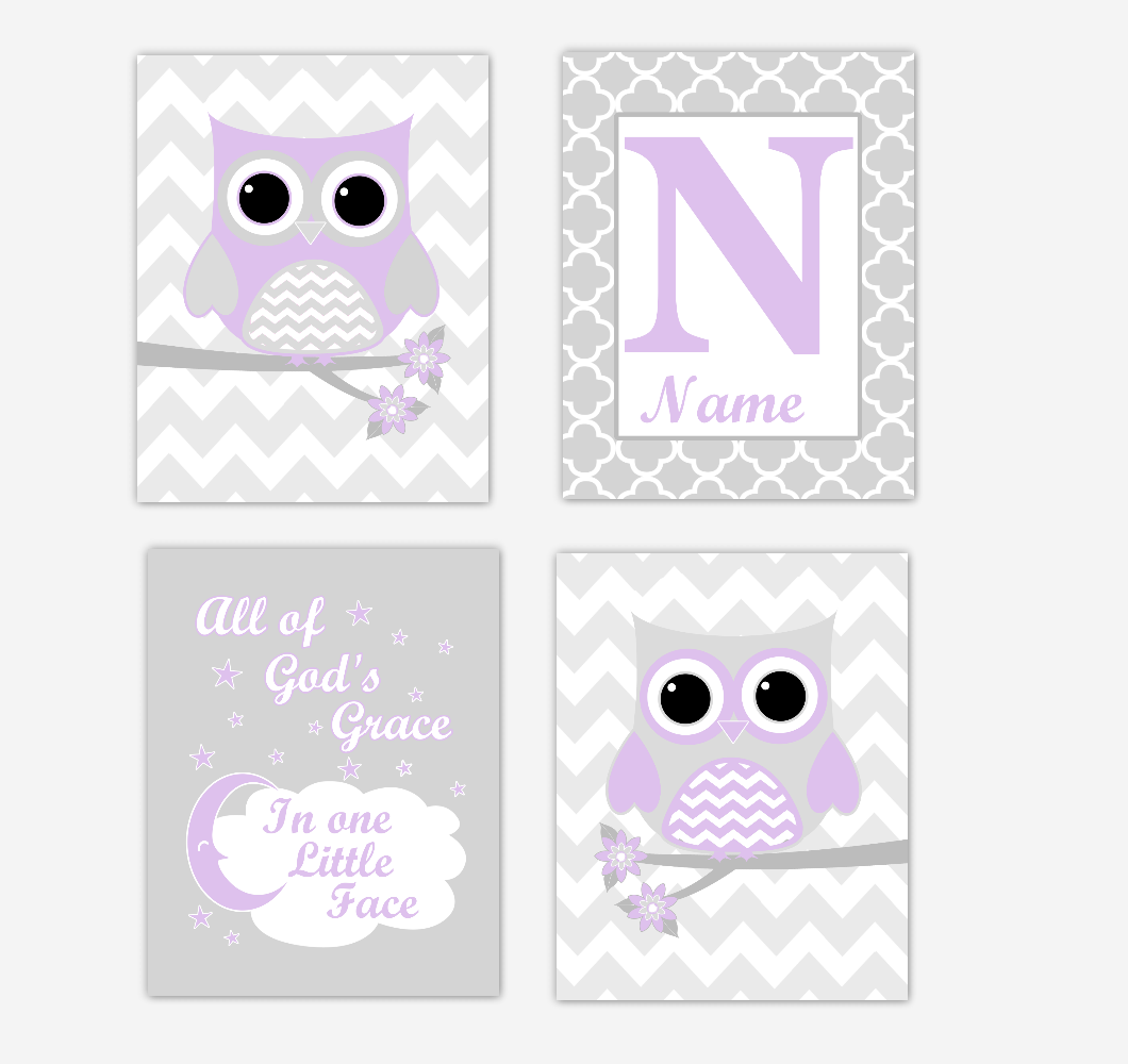Purple Owls Baby Girl Nursery Wall Art Prints Personalized Baby Nursery Decor Dream Lavender Gray All Of Gods Grace
