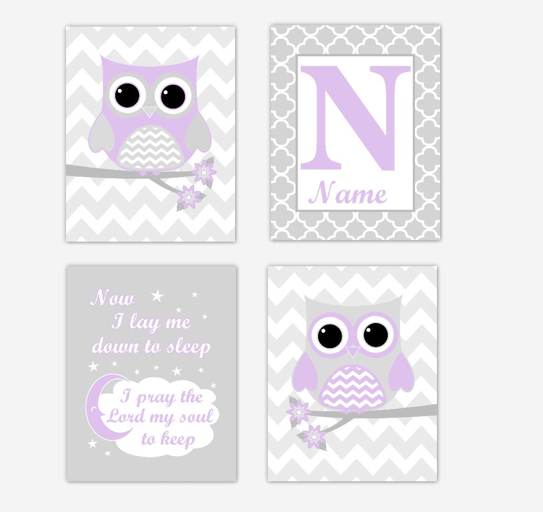 Purple Owls Baby Girl Nursery Wall Art Prints Personalized Baby Nursery Decor Dream Lavender Gray Twinkle Little Star