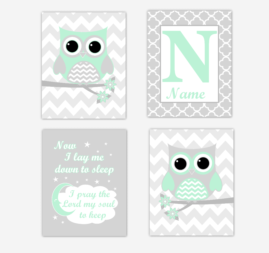 Mint Green Owls Baby Girl Nursery Wall Art Prints Personalized Baby Nursery Decor Now I Lay Me Down To Sleep