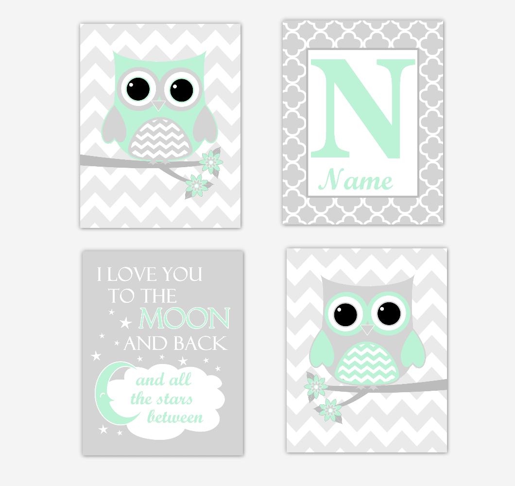 Mint Green Owls Baby Girl Nursery Wall Art Prints Personalized Baby Nursery Decor I Love You To The Moon and Back