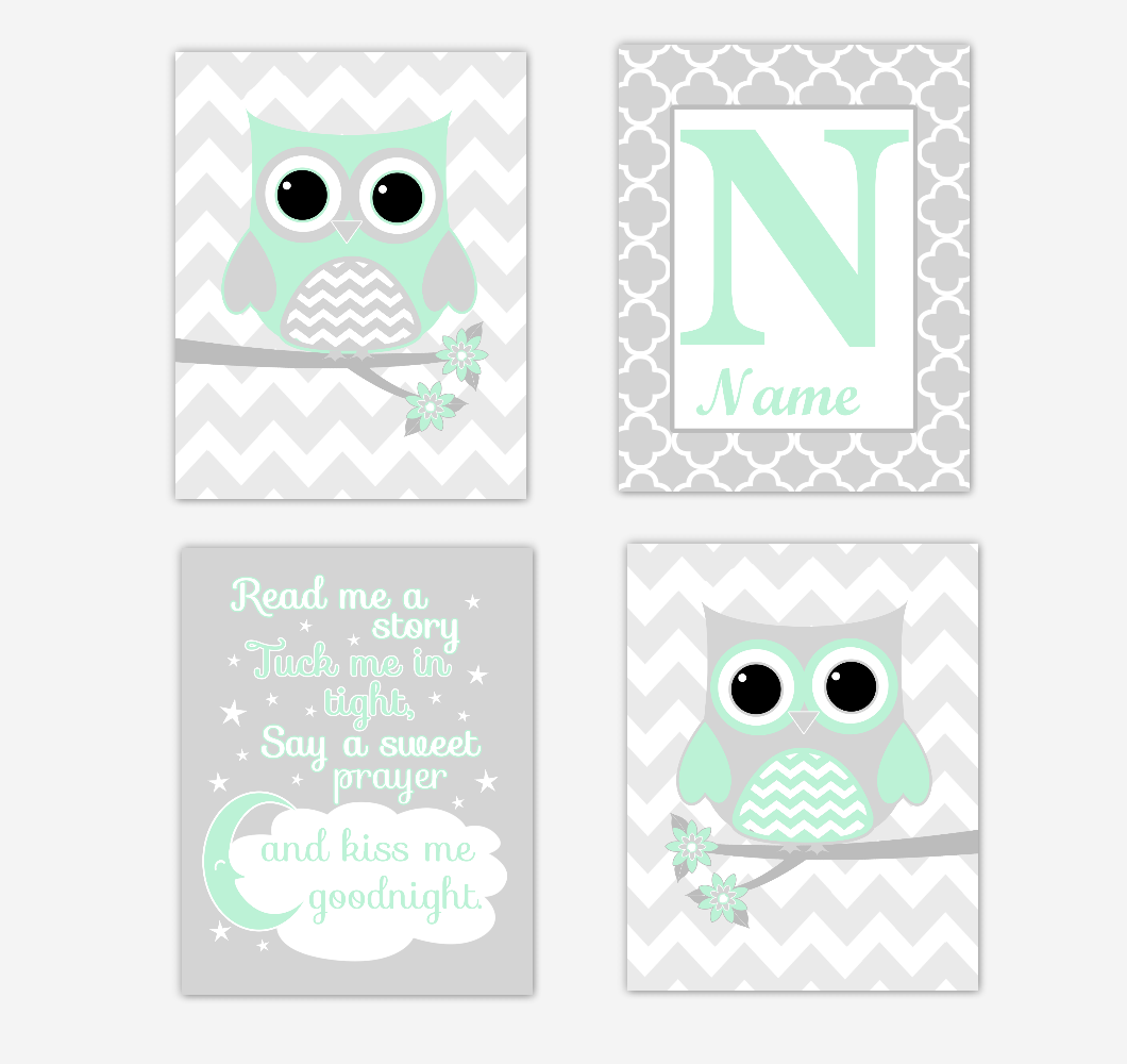 Mint Green Owls Baby Girl Nursery Wall Art Prints Personalized Baby Nursery Decor Read Me A Story