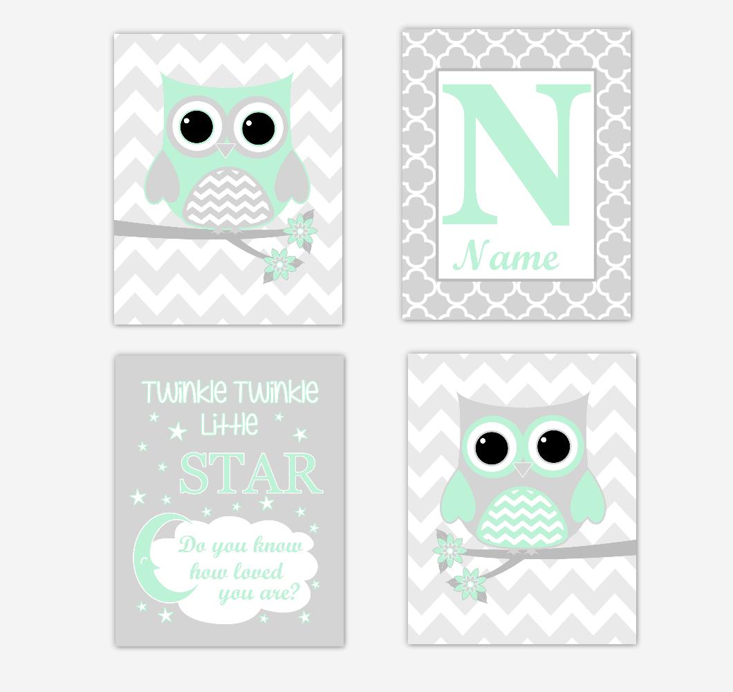 Mint Green Owls Baby Girl Nursery Wall Art Prints Personalized Baby Nursery Decor Twinkle Little Star