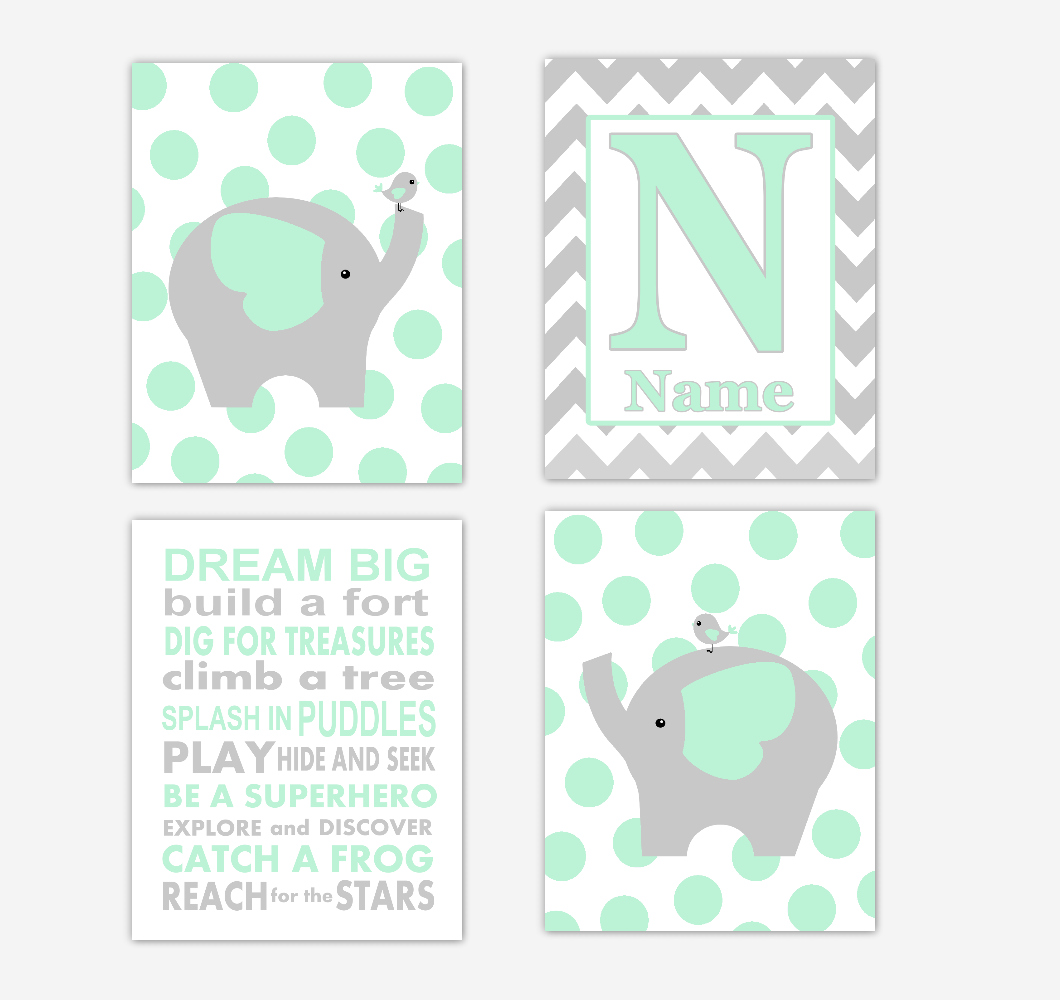 Mint Green Elephants Baby Boy Nursery Wall Art Prints Personalized Baby Nursery Decor Dream Big Quotes