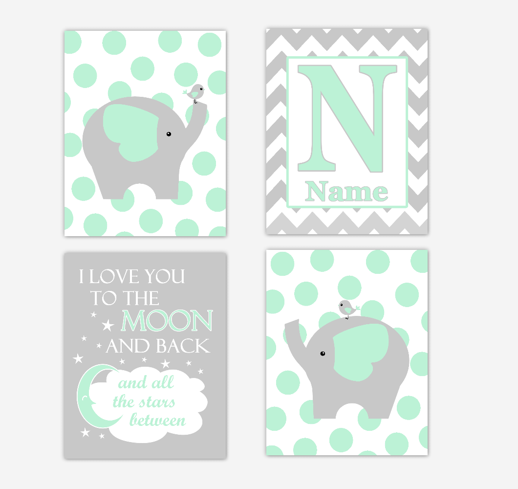 Mint Green Elephants Baby Nursery Wall Art Prints Personalized Baby Nursery Decor I Love You To The Moon Gender Neutral Baby Decor