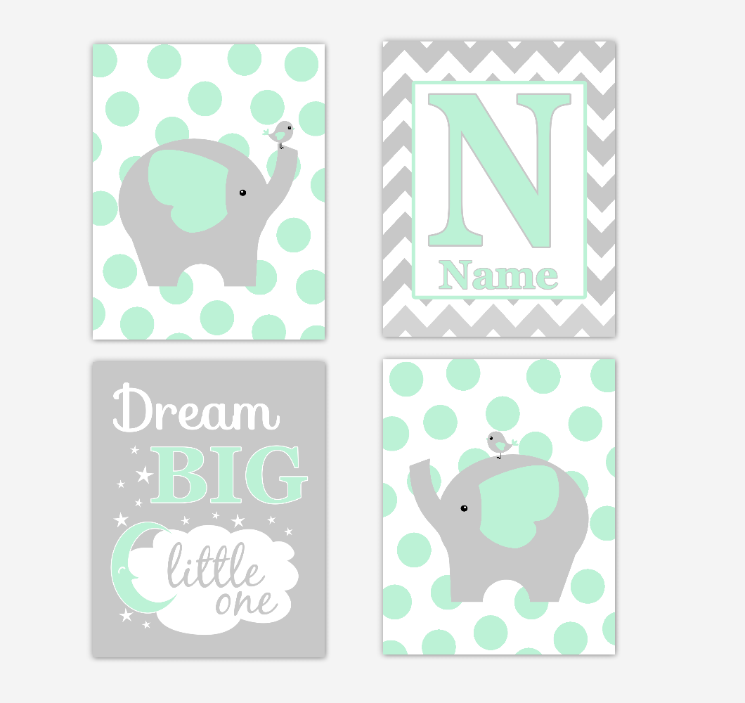 Mint Green Elephants Baby Nursery Wall Art Prints Personalized Baby Nursery Decor Dream Big Little One Gender Neutral Baby Decor​