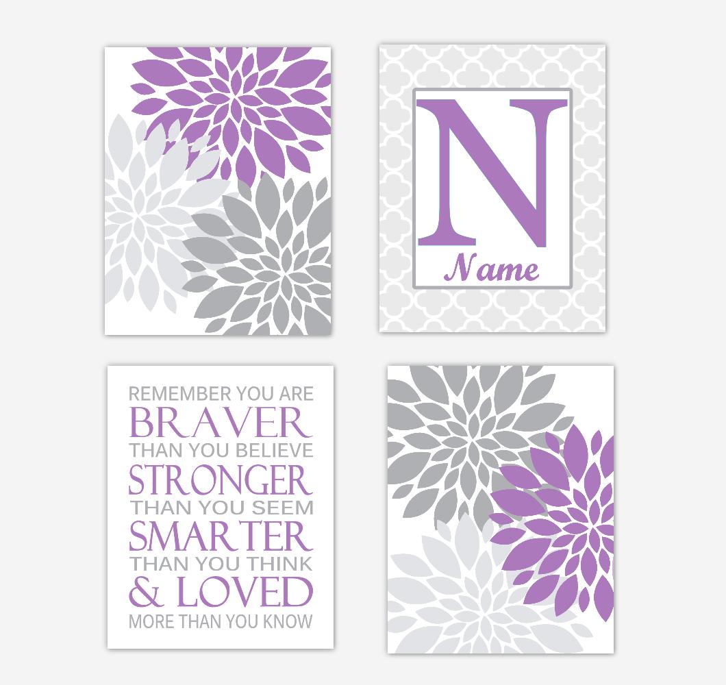 Purple Dahlia Mum Flowers Wall Art Prints Girl Bedroom Decor Personalized Baby Nursery Decor Remember You Are Braver