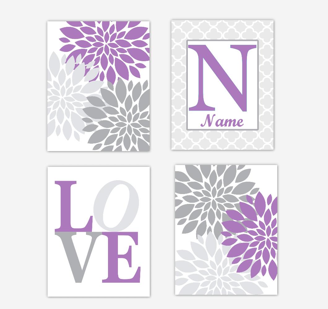 Purple Dahlia Mum Flowers Wall Art Prints Girl Bedroom Decor Personalized Baby Nursery Decor LOVE Home Decor