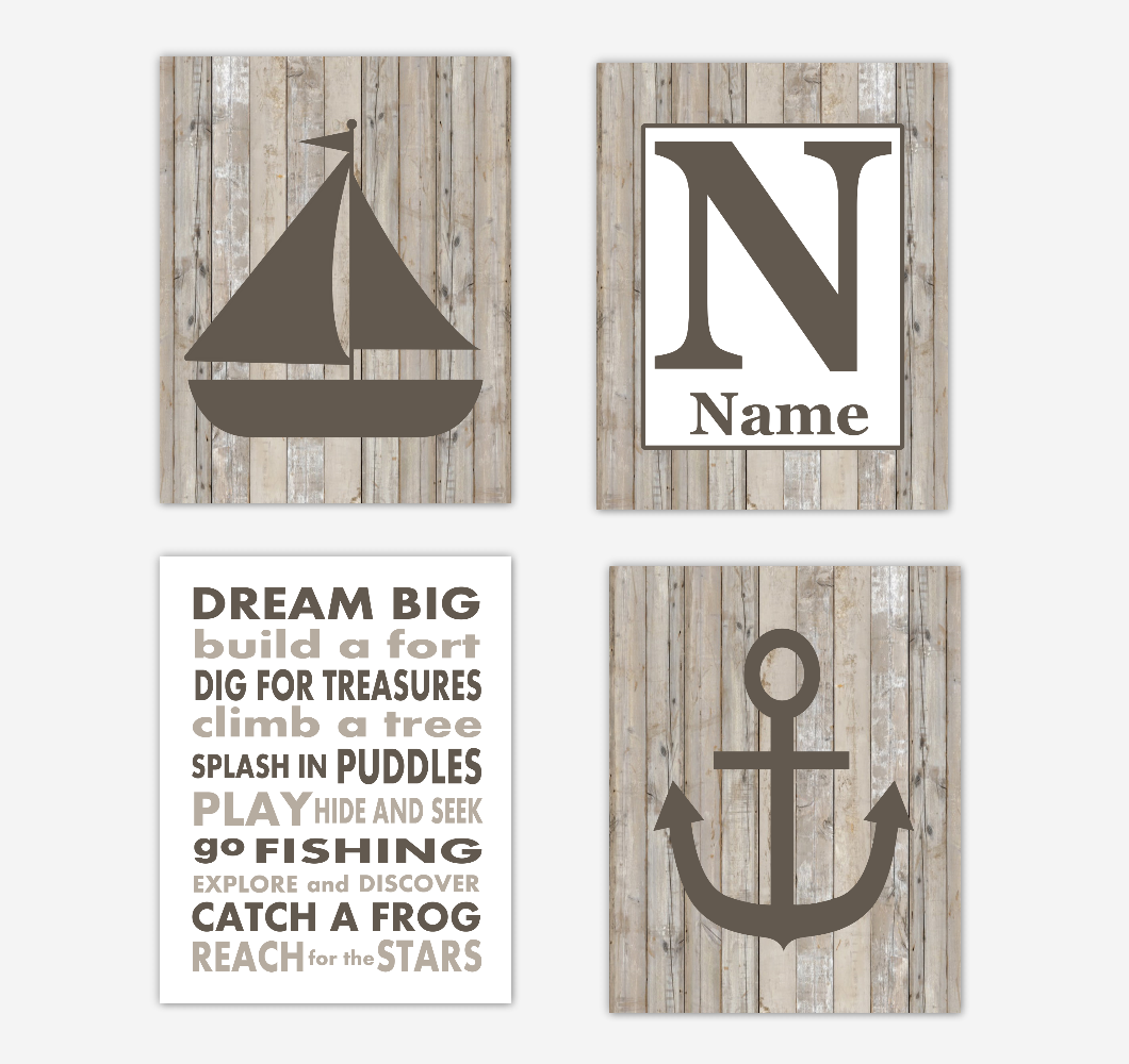 Nautical Baby Boy Nursery Wall Art Prints Rustic Farmhouse Style Personalized Baby Nursery Decor Boy Bedroom Decor Dream Big Sailboat Anchor