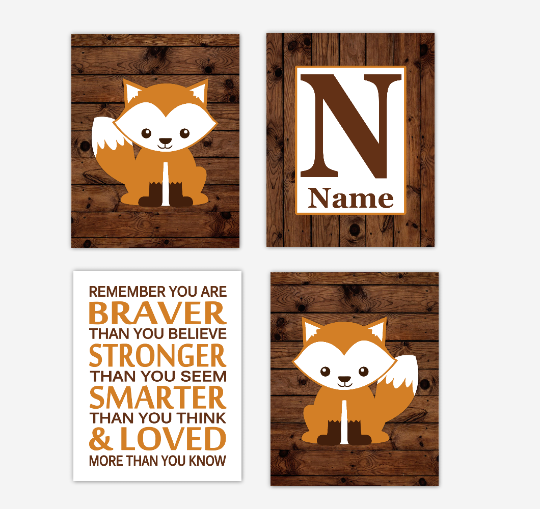 Fox Baby Boy Nursery Wall Art Prints Rustic Personalized Baby Nursery Decor Remember You Are Braver Farmhouse Style Woodland Animals