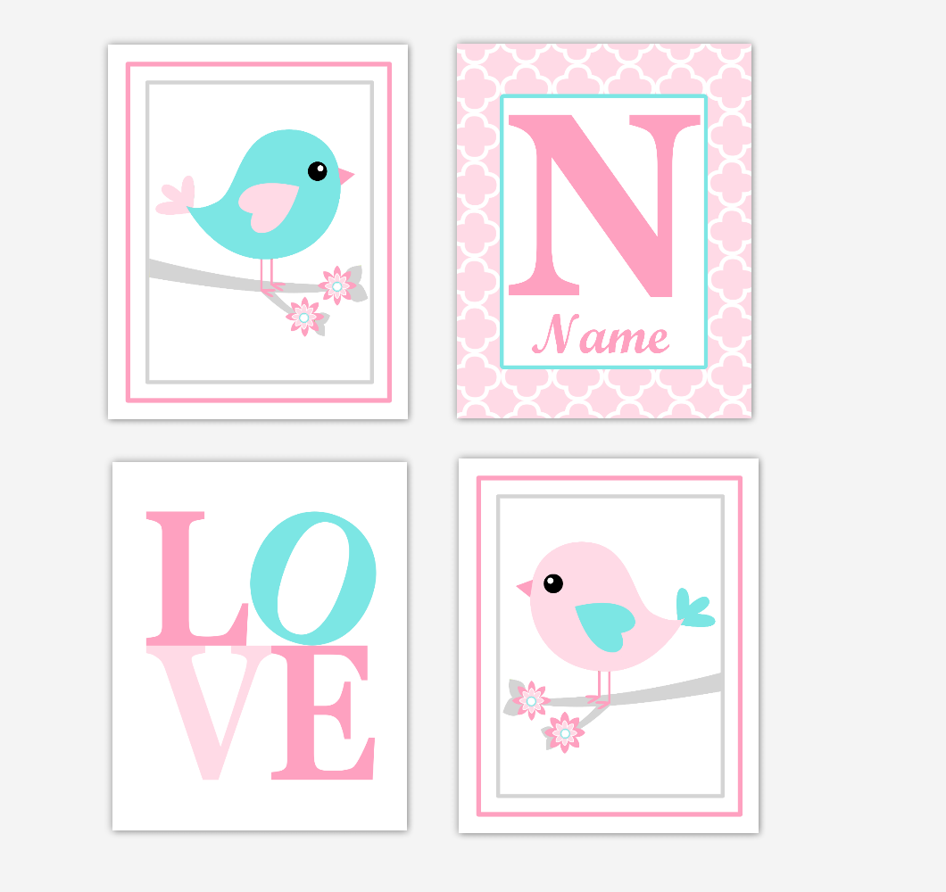 Pink Teal Aqua Birds Baby Girl Nursery Wall Art Prints Personalized Baby Nursery Decor LOVE