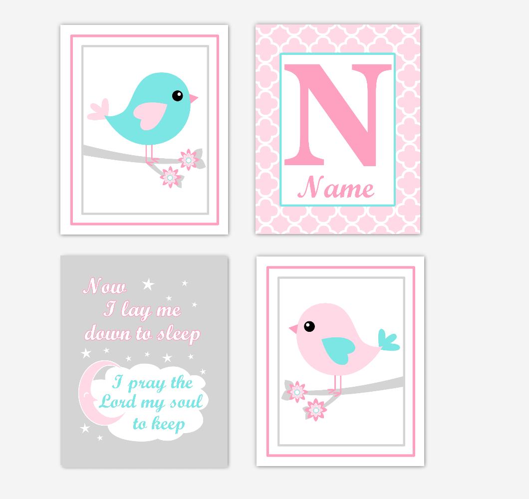 Pink Teal Aqua Birds Baby Girl Nursery Wall Art Prints Personalized Baby Nursery Decor Now I Lay Me Down To Sleep