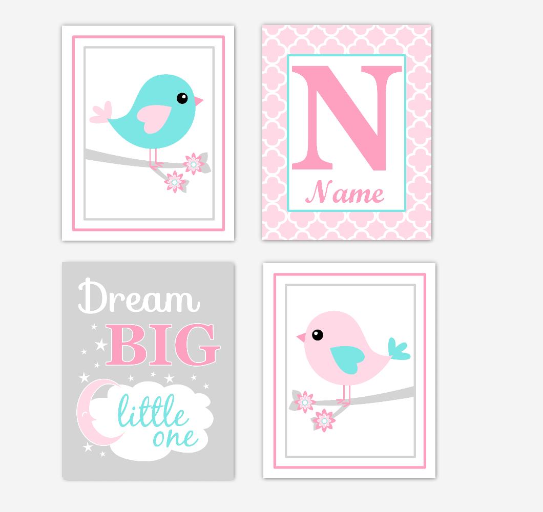 Pink Teal Aqua Birds Baby Girl Nursery Wall Art Prints Personalized Baby Nursery Decor Dream Big Little One