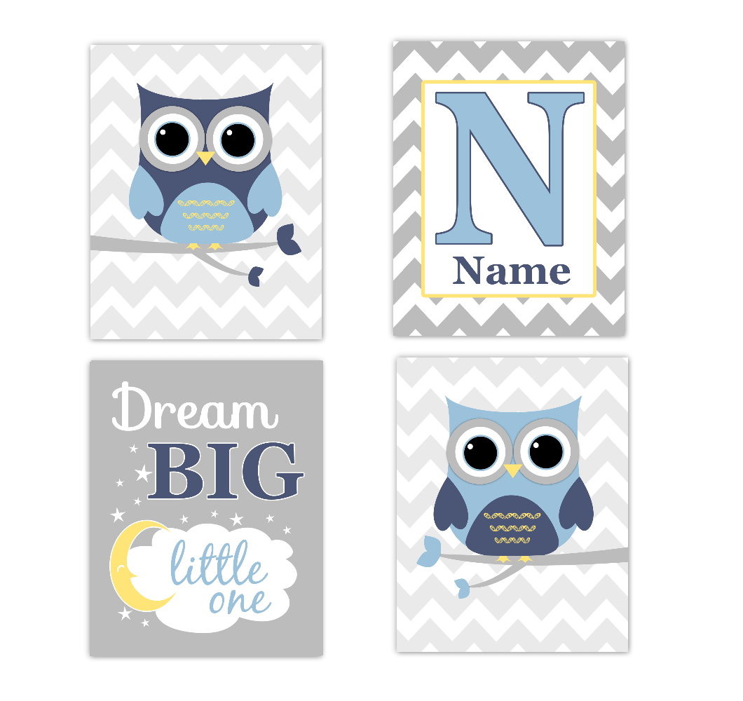 Blue Yellow Owls Baby Boy Nursery Wall Art Prints Personalized Baby Nursery Decor Dream Big Little One
