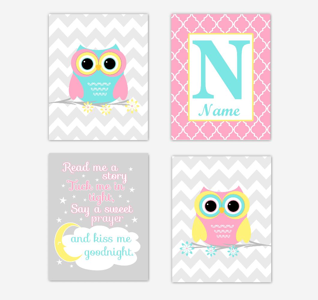 Owls Baby Girl Nursery Wall Art Prints Personalized Baby Nursery Decor Pink Aqua Teal Yellow Read Me A Story