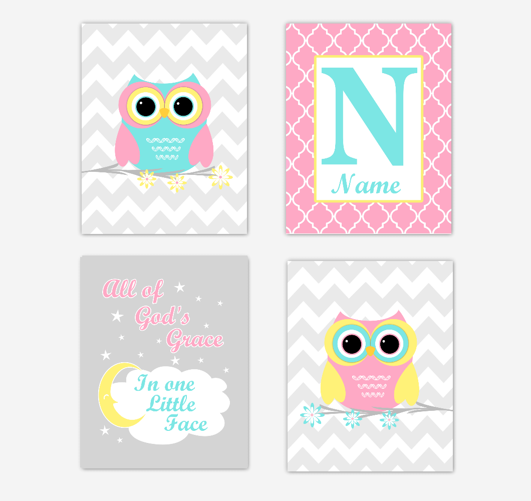 Owls Baby Girl Nursery Wall Art Prints Personalized Baby Nursery Decor Pink Aqua Teal Yellow All Of Gods Grace