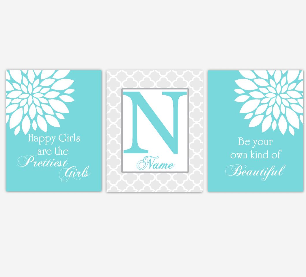 Dahlia Mum Flower Wall Art Teal Aqua Personalized Prints Girl Bedroom Decor Baby Nursery Decor