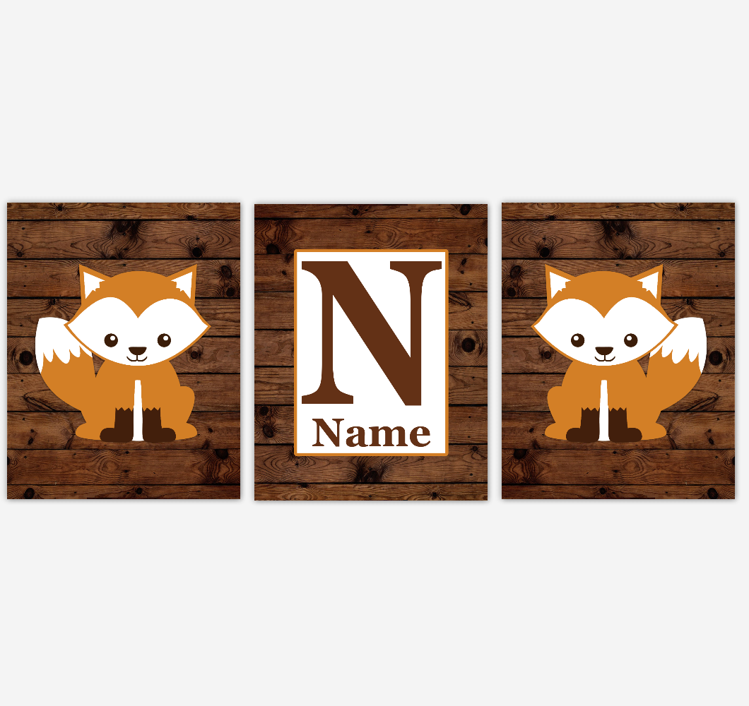 Fox Baby Boy Nursery Wall Art Orange Brown Rustic Farmhouse Tribal Woodland Animals Personalized Baby Nursery Decor