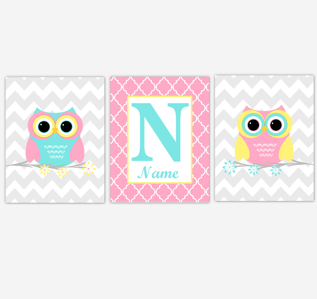 Owl Baby Girl Nursery Wall Art Pink Yellow Teal Aqua Personalized Baby Nursery Decor Birds