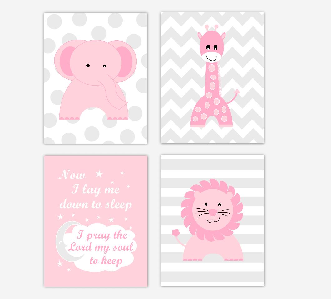 Pink Baby Girl Nursery Wall Art Safari Animals Elephant Giraffe Lion Baby Nursery Decor Now I Lay Me Down To Sleep