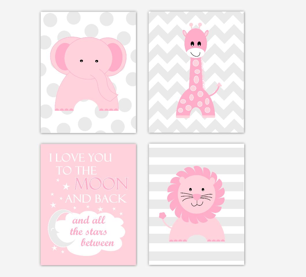 Pink Baby Girl Nursery Wall Art Safari Animals Elephant Giraffe Lion Baby Nursery Decor I Love You To The Moon and Back