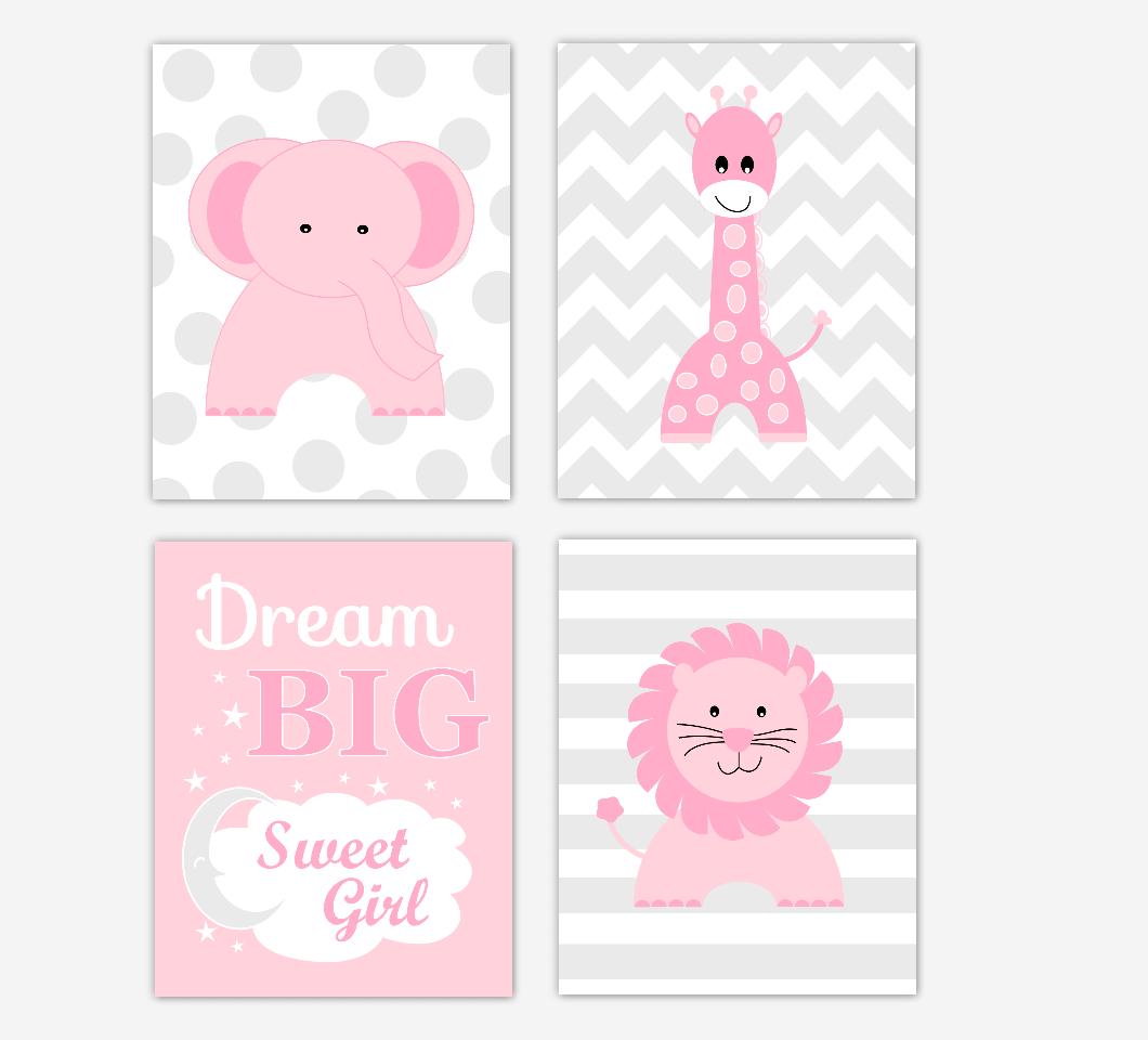 Pink Baby Girl Nursery Wall Art Safari Animals Elephant Giraffe Lion Baby Nursery Decor Dream Big Sweet Girl