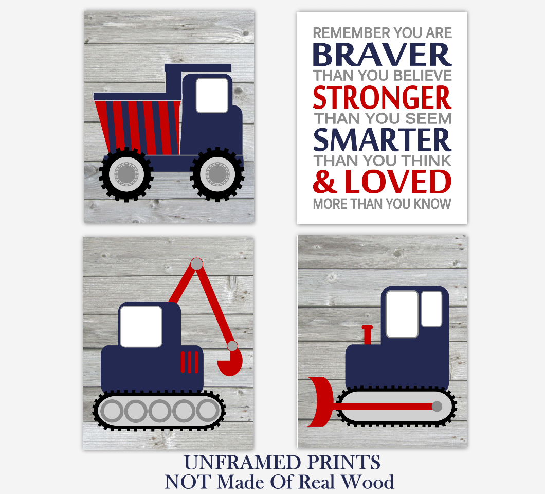 Construction Trucks Navy Blue Red Baby Boy Nursery Art Prints Boy Bedroom Baby Nursery Decor Rustic Farmhouse Always Remember You Are Braver