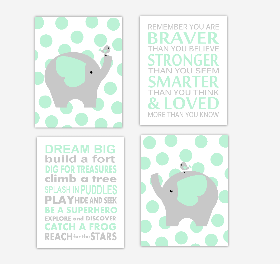 Mint Green Baby Boy Nursery Wall Art Elephant Safari Animals Baby Nursery Decor Green GrayAlways Remember You Are Braver