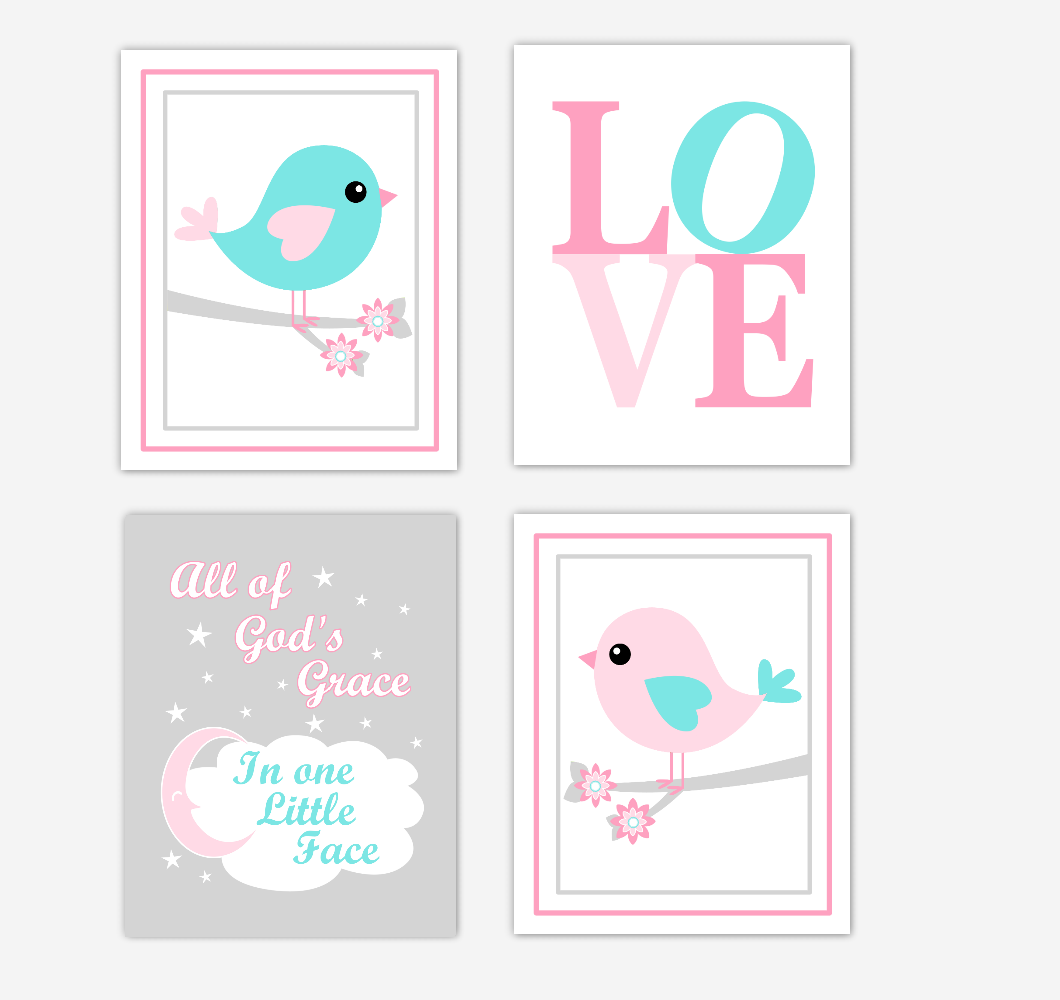 Birds Baby Girl Nursery Wall Art Prints Pink Aqua Teal LOVE Baby Nursery Decor All Of Gods Grace