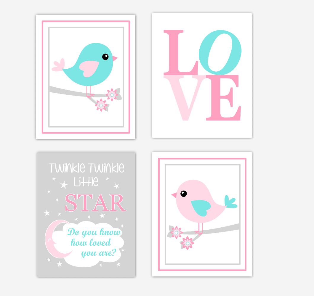 Birds Baby Girl Nursery Wall Art Prints Pink Aqua Teal LOVE Baby Nursery Decor Twinkle Twinkle Little Star