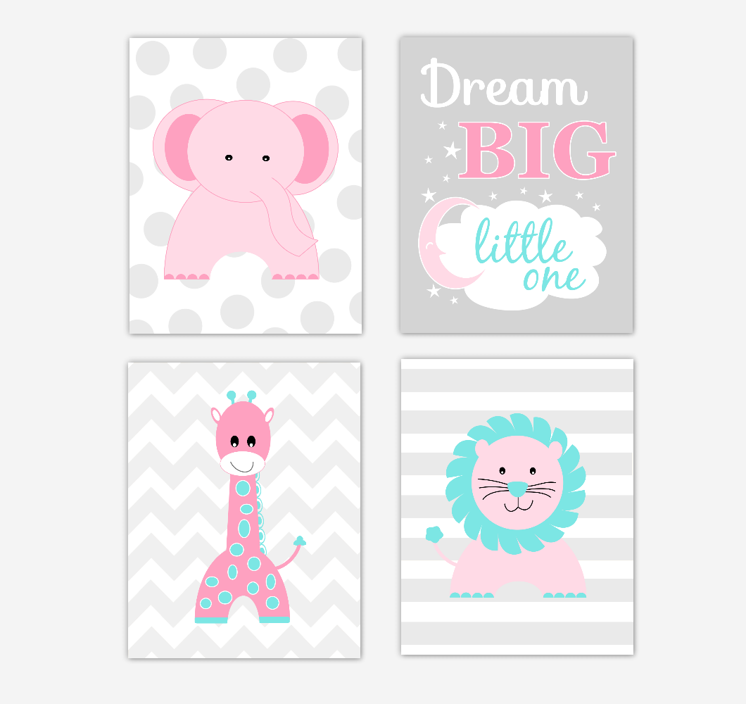 Pink Baby Girl Nursery Wall Art Prints Elephant Giraffe Lion Safari Animals Teal Aqua Baby Nursery Decor Dream Big Little One