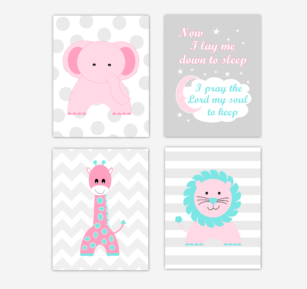 Pink Baby Girl Nursery Wall Art Prints Elephant Giraffe Lion Safari Animals Teal Aqua Baby Nursery Decor Now I Lay Me Down To Sleep