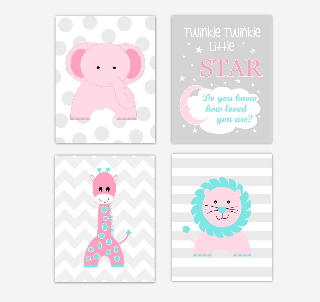 Pink Baby Girl Nursery Wall Art Prints Elephant Giraffe Lion Safari Animals Teal Aqua Baby Nursery Decor Twinkle Twinkle Little Star