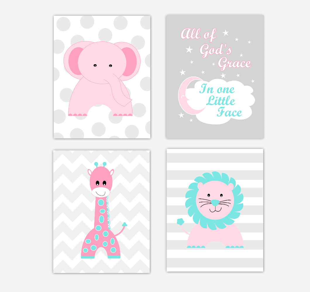 Pink Baby Girl Nursery Wall Art Prints Elephant Giraffe Lion Safari Animals Teal Aqua Baby Nursery Decor All Of Gods Grace