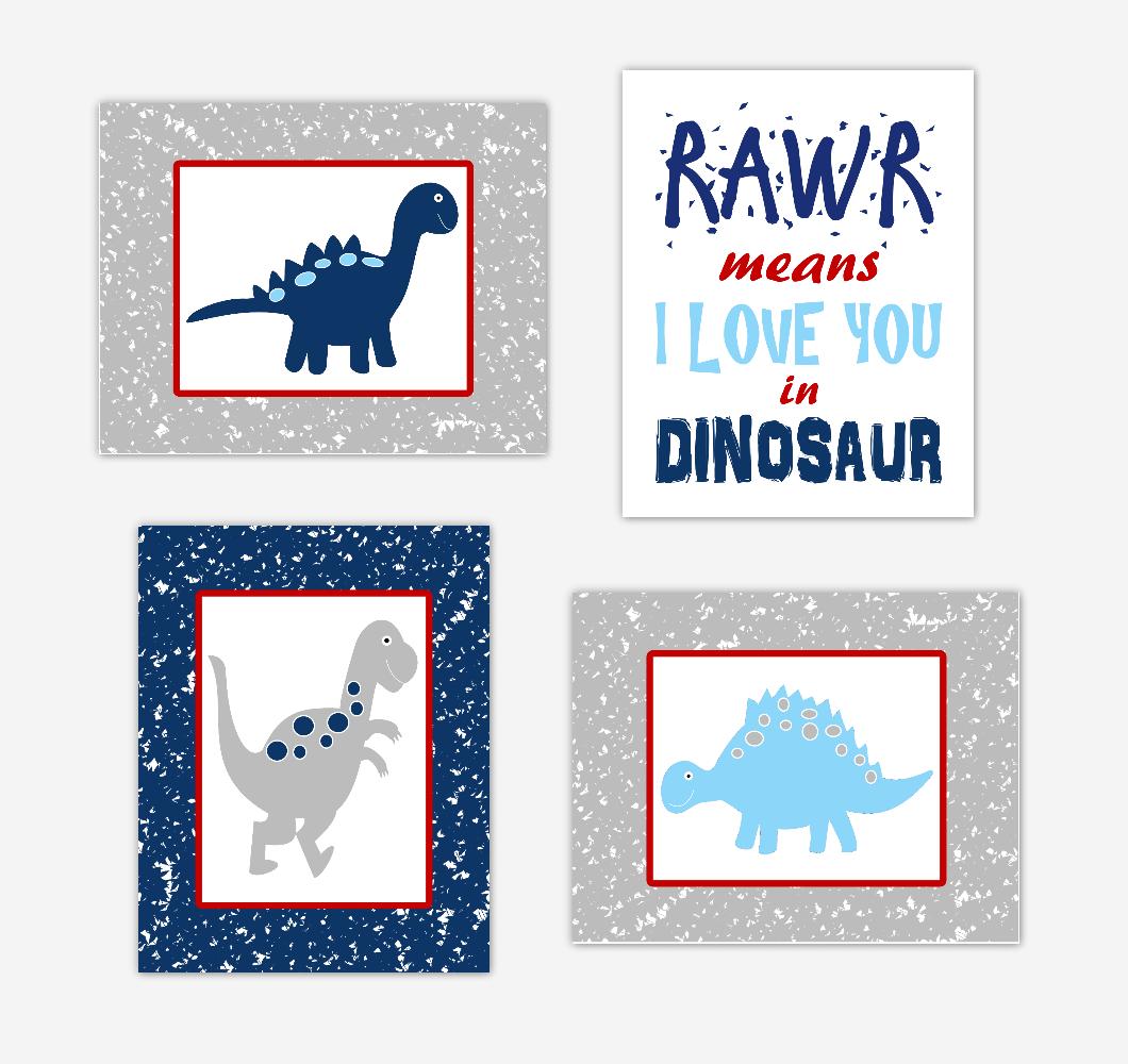 Dinosaur Baby Boy Nursery Wall Art Navy Blue Red Dinos Print Baby Nursery Decor Playroom RAWR Means I Love You In Dinosaur