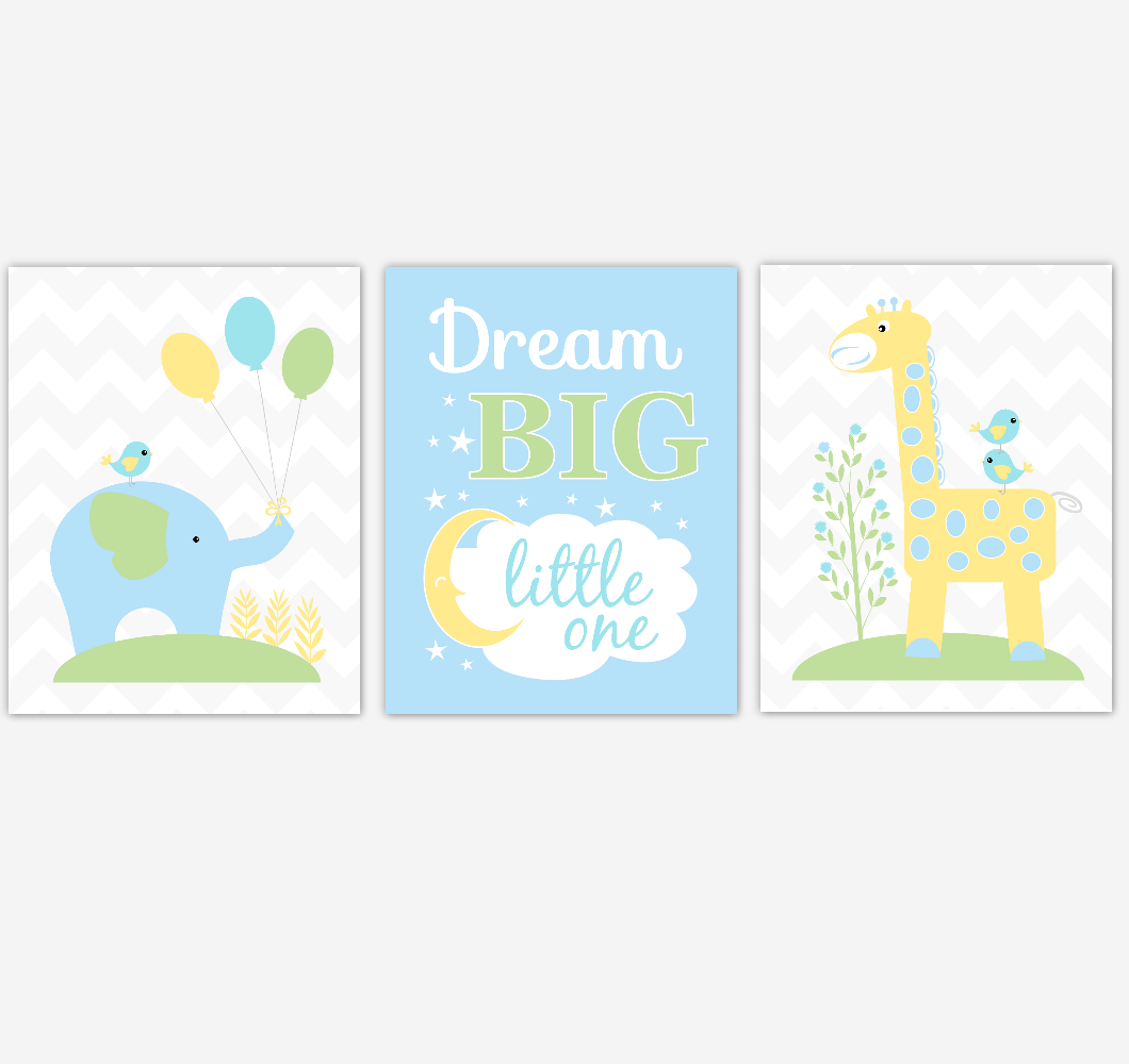 Safari Animals Baby Boy Nursery Wall Art Prints Blue Yellow Green Elephant Giraffe Baby Nursery Decor Dream Big Little One