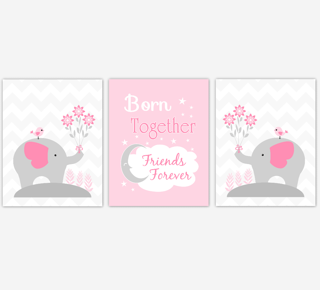 Twins Baby Girl Nursery Wall Art Pink Gray Elephant Safari Animals Prints Baby Nursery Decor Born Together Friends Forever