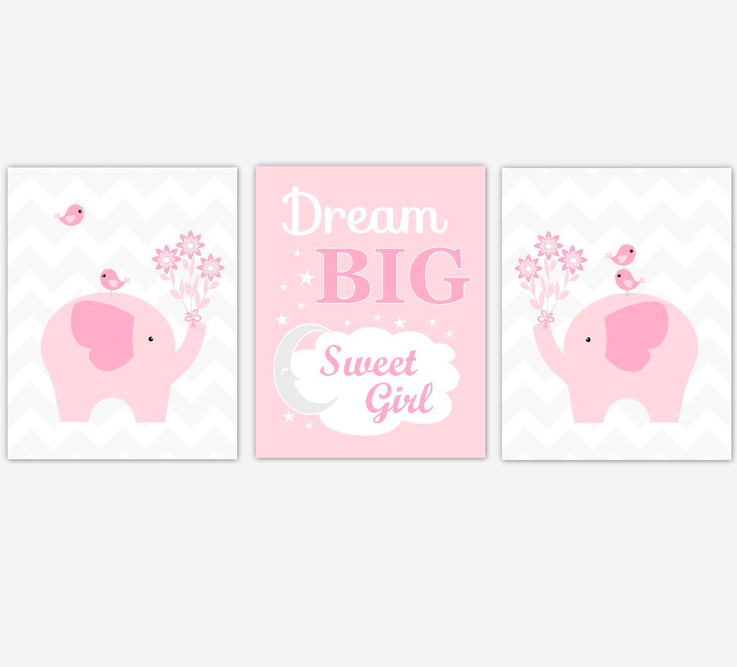 Elephant Baby Girl Nursery Wall Art Pink Gray Elephant Safari Animals Prints Baby Nursery Decor Dream Big Sweet Girl